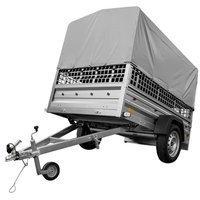 Enakslet trailer 200x125 inklusiv høj presenning, gittersider og støttehjul - Garden Trailer 205 DMC 750 KG