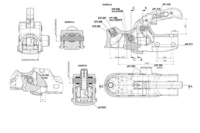 Støbejern kuglekobling  AK301 3000kg Ø50 mm